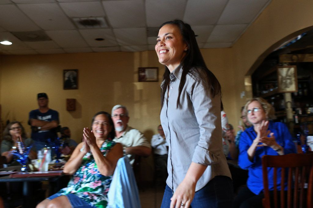 Democratic nominee for Texas' U.S. Congressional District 23 Gina Ortiz Jones smiles as she is introduced during a meet and greet reception at El Charro Restaurant in Hondo, Texas, Wednesday, August 1, 2018. Ortiz Jones is running against Republican incumbent U.S. Rep. Will Hurd in the November 6 general elections.