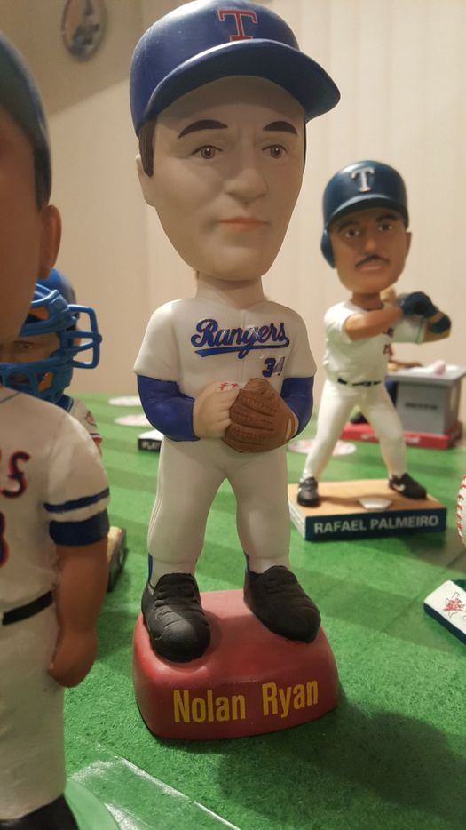 A Nolan Ryan bobblehead from the collection of Johnnie Lehew. The Fort Worth resident has been collecting the figurines since 2001. (Tommy Noel/Staff Photographer)
