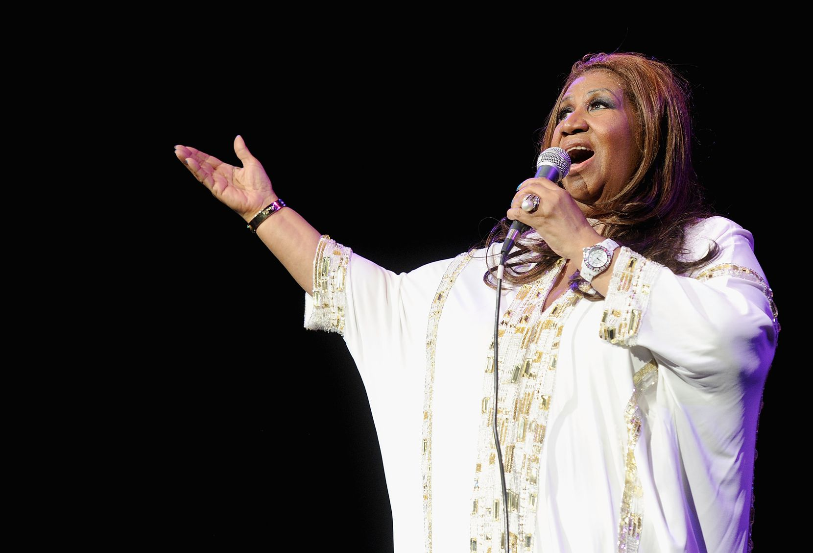 Aretha Franklin en el Radio City Music Hall de Nueva York en 2012. (Photo by Jamie McCarthy/Getty Images)