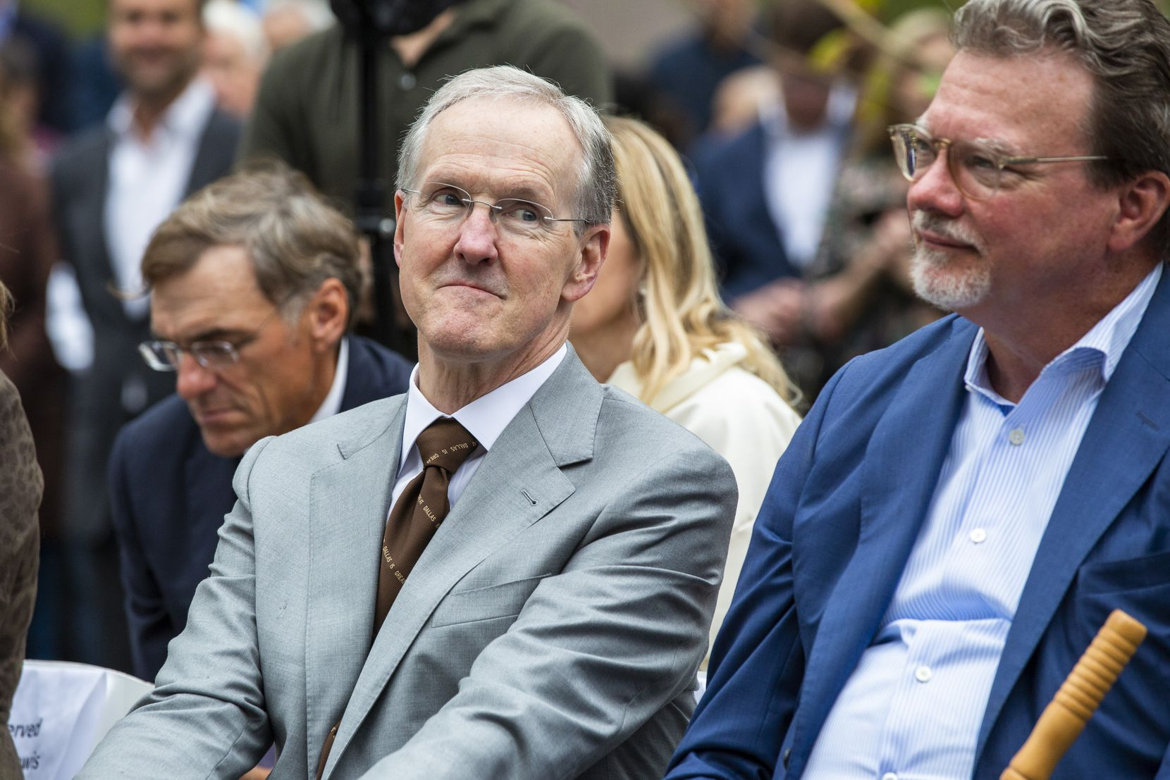 Robert W. Decherd, chairman of Parks for Downtown Dallas and CEO of A.H. Belo (left) and Dan Noble, HKS, Inc. president and CEO, attend the opening ceremony for Pacific Plaza in downtown Dallas on Monday, Oct. 14, 2019. The plaza is the first of four new green spaces that will open by the end of 2022 with help from the nonprofit, Parks for Downtown Dallas. (Lynda M. Gonzalez/The Dallas Morning News)