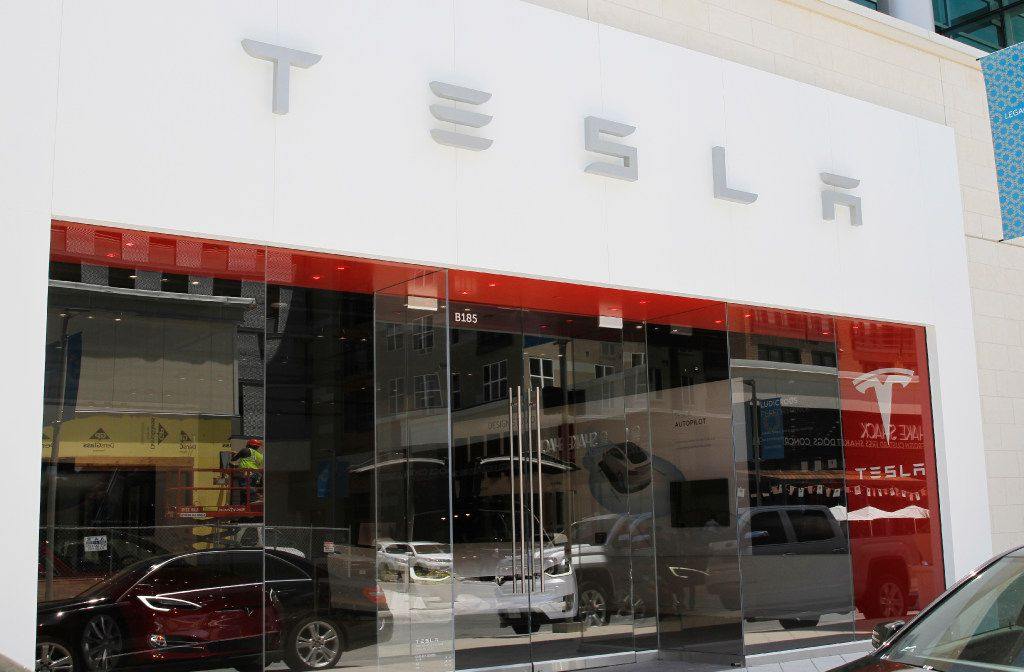 Tesla is one of the new tenants located in Legacy West, a 415,000-square-foot mixed-use center in Plano, Texas. Photo taken on Tuesday, May 30, 2017.