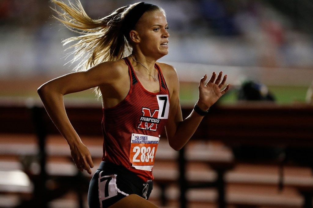 Flower Mound Marcus' Quinn Owen (2834) finishes first in the class 6A girls 1600-meter run during the UIL state track and field meet in Austin, Saturday, May 13, 2017. (Stephen Spillman/Special Contributor)