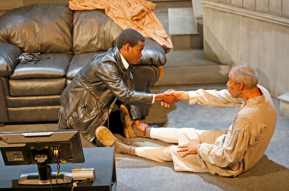 Dennis Raveneau (right) and Kyle Fox Douglas appear in Br'er Cotton, a National New Play Network rolling world premiere presented by Kitchen Dog Theater at Trinity River Arts Center in Dallas.