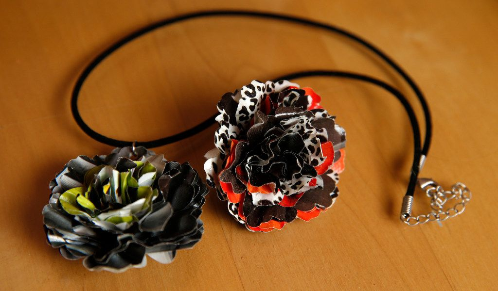 A necklace made out of magazines by Casey Eckert at her home in Allen.  (Nathan Hunsinger/Staff Photographer)