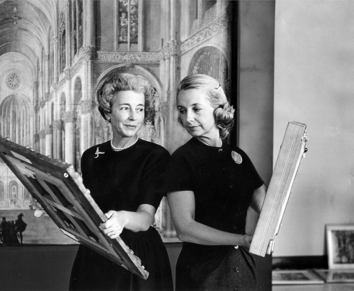 Margaret McDermott (left), who had only recently been named  president of the Dallas Art Association, is shown with Betty Blake, who at the time was board president of the Dallas Museum for Contemporary Arts. (Doris Jacoby/The Dallas Morning News)