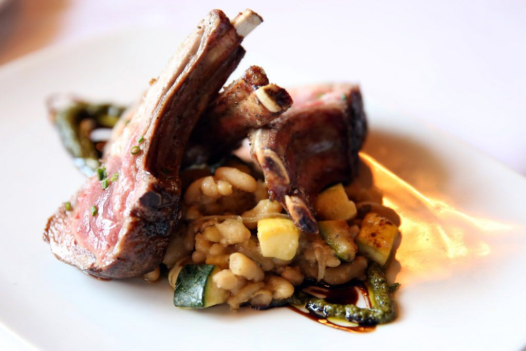 Rack of lamb with English pea coulis and white beans