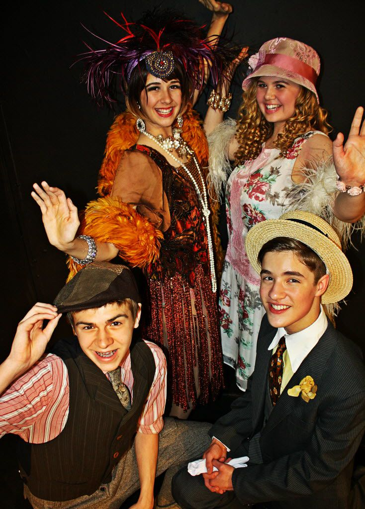 Dawson Holder (foreground, left), Gracie Nunelley (back left), Grace Loncar and Carlos Joglar (foreground, right) star in Imagination Players' production of Thoroughly Modern Millie Jr., at KD Studio Theatre/Trinity River Arts Center May 1-4, 2014.