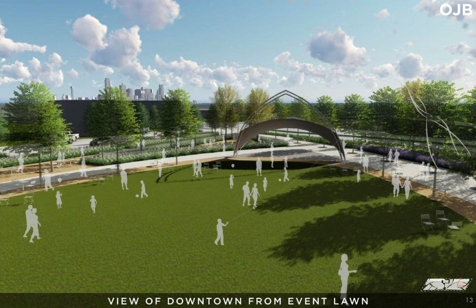 A rendering from a Conceptual Plan for the Southern Gateway Public Green, a deck park over I-35E from Marsalis Avenue to Ewing Avenue, adjacent to the Dallas Zoo