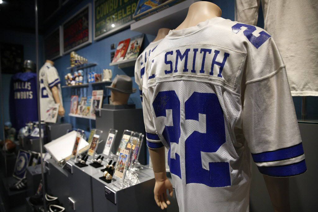 Emmitt Smith's game worn jersey, part of the Eye of the Collector exhibit at the Perot Museum of Nature and Science in Dallas on April 14, 2016.