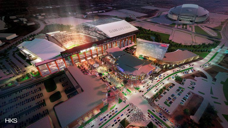 Vista aérea del nuevo estadio de los Rangers de Texas. CORTESIA