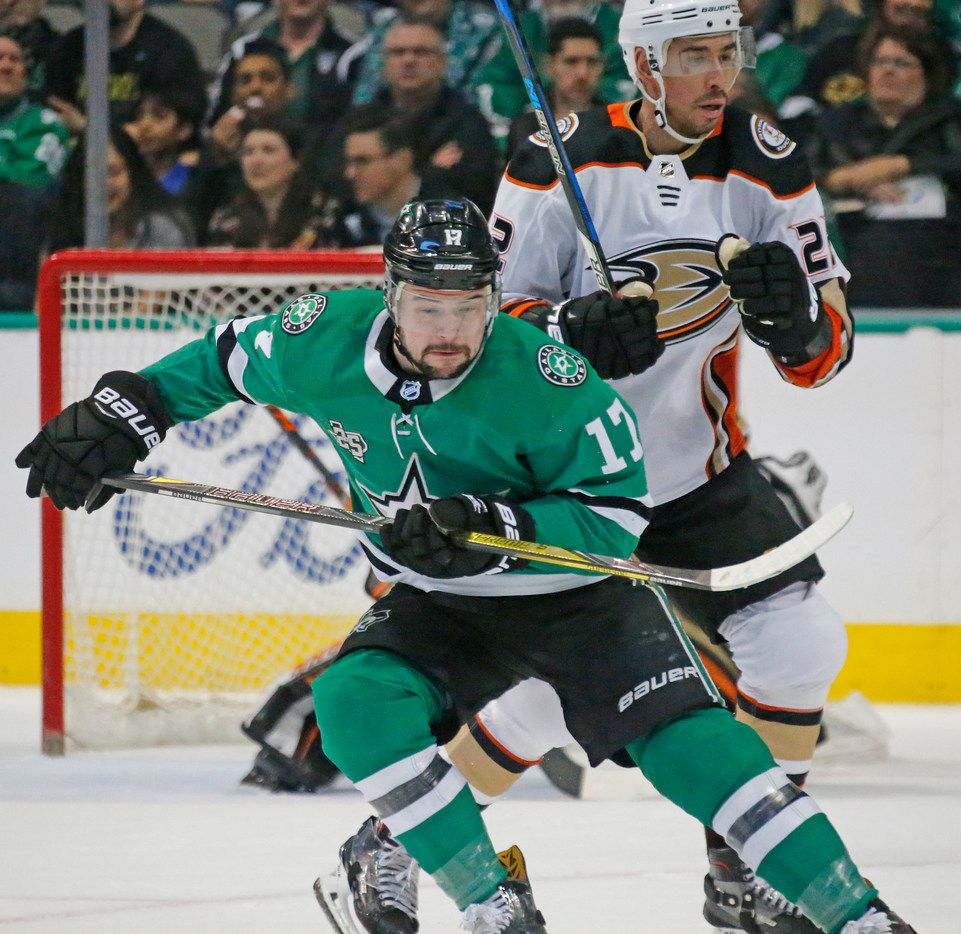 Dallas Stars center Devin Shore (17) is pictured during the Anaheim Ducks vs. the Dallas Stars NHL hockey game at the American Airlines Center in Dallas on Friday, March 9, 2018. (Louis DeLuca/The Dallas Morning News)