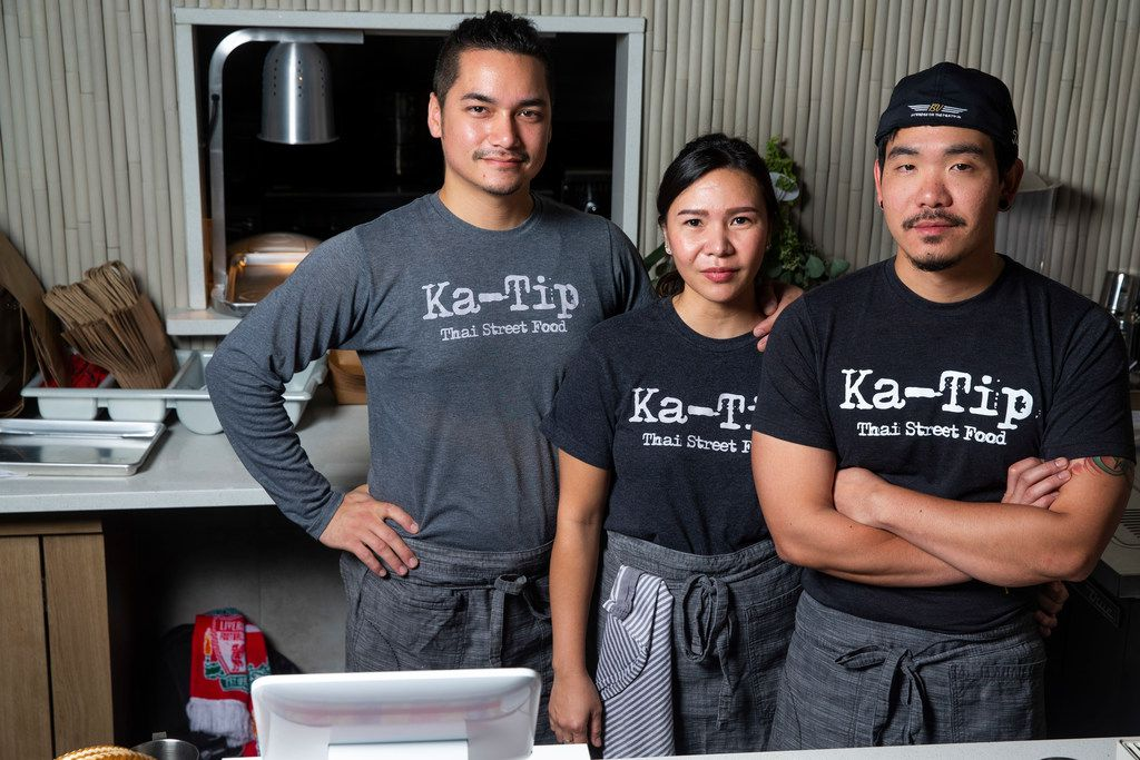 Owners George Kaiho, left, Yuyee Sakpanichkul Kaiho, center, and Paul Sakpanichkul are opening Ka-Tip. In his off-time, George Kaiho is a bartender at Jettison in West Dallas.