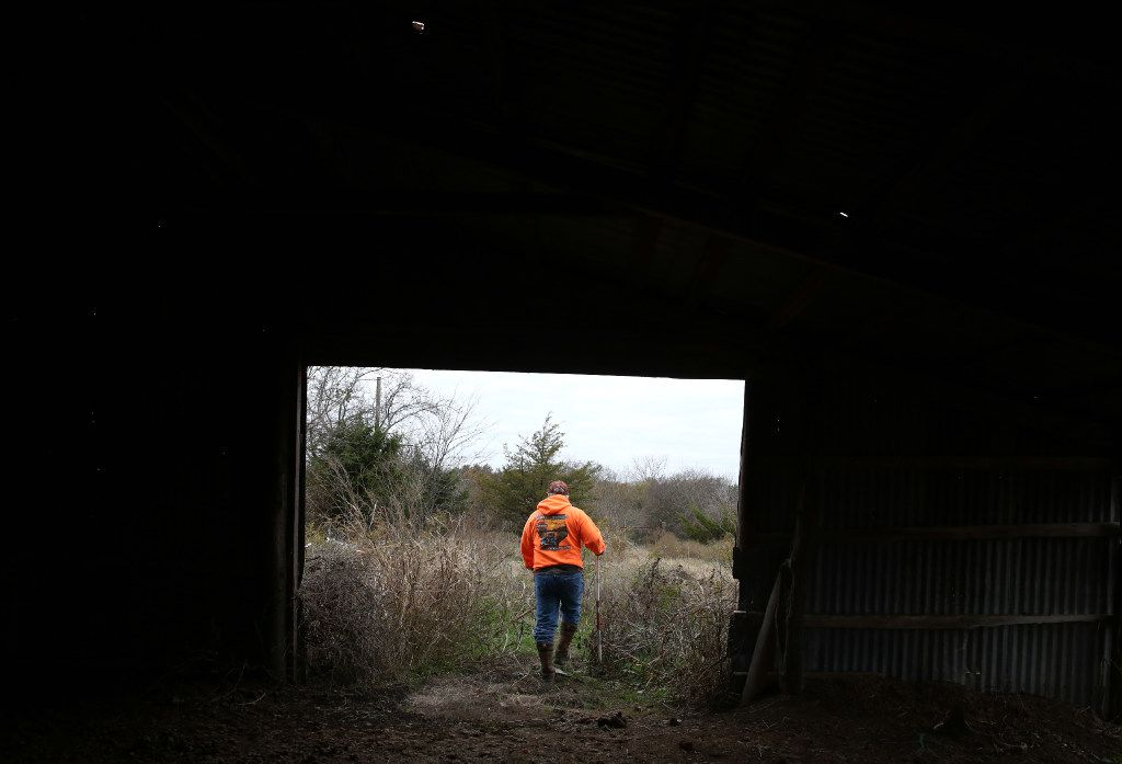 Dennis Abercrombie walks through a shed in northern Collin County during a recent search.