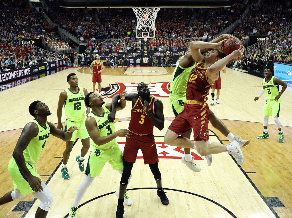 KANSAS CITY, MISSOURI - MARCH 14:  Mark Vital #11 of the Baylor Bears blocks a shot by Tyrese Haliburton #22 of the Iowa State Cyclones during the quarterfinal game of the Big 12 Basketball Tournament at Sprint Center on March 14, 2019 in Kansas City, Missouri. (Photo by Jamie Squire/Getty Images)