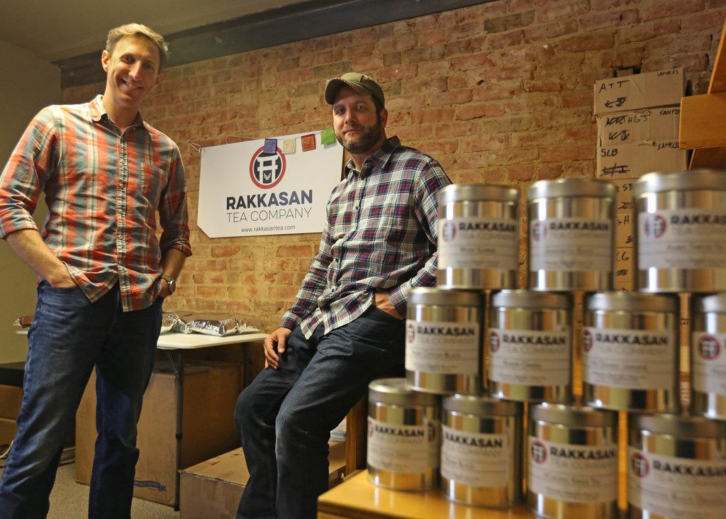 Brandon Friedman, left, and Terrence Kamauf have launched Rakkasan Tea Company in Dallas.