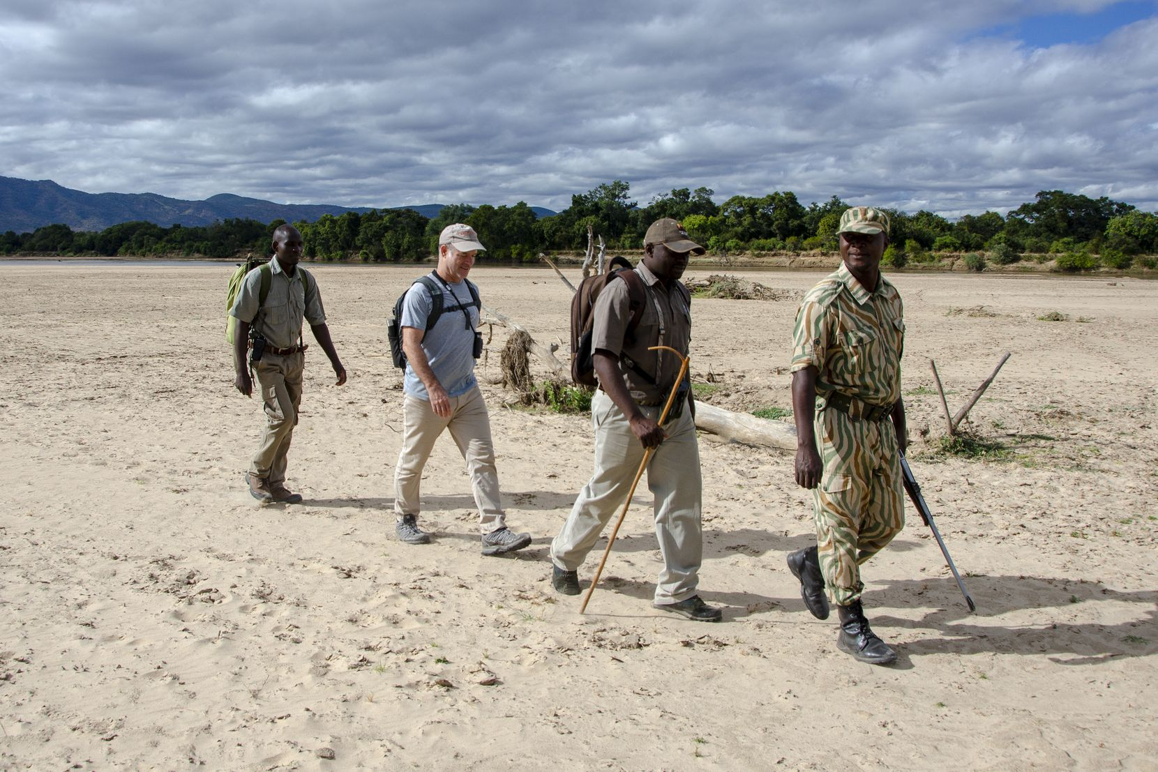 The walking safari was first tried decades ago in the Luangwa Valley and is still practiced today. An armed park ranger leads the way to help ensure visitors' safety.