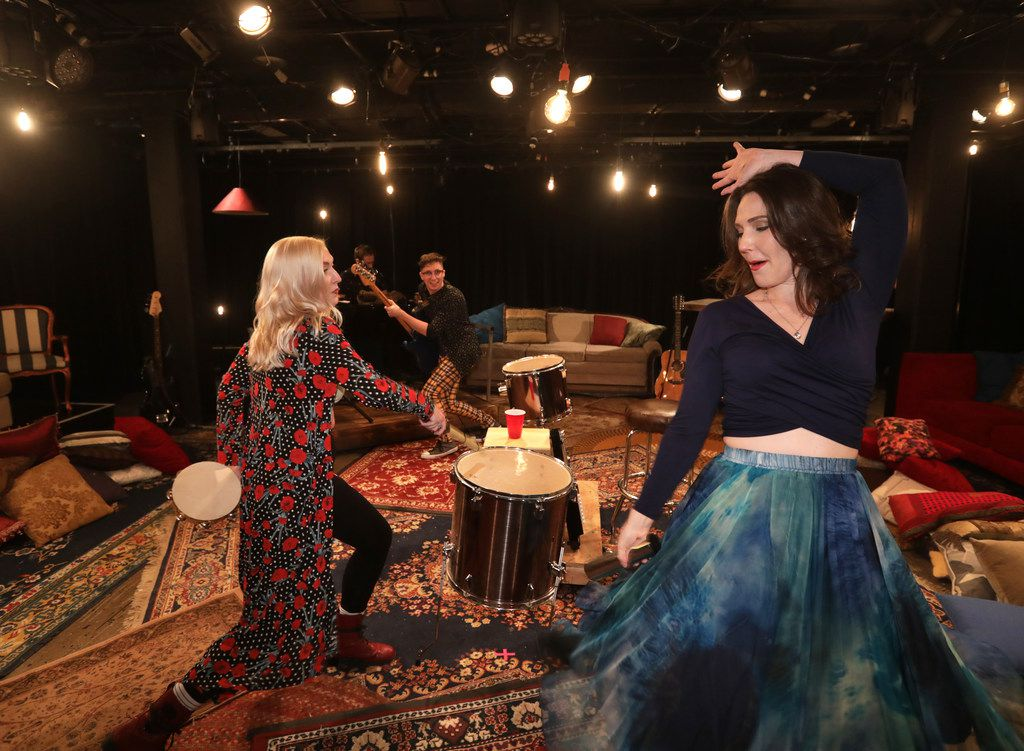 Devin Berg, left, Benjamin Brown and Mindy Bell rehearse imprint Theatreworks' production of Ghost Quartet, which won three Dallas-Fort Worth Theater Critics Forum Awards.