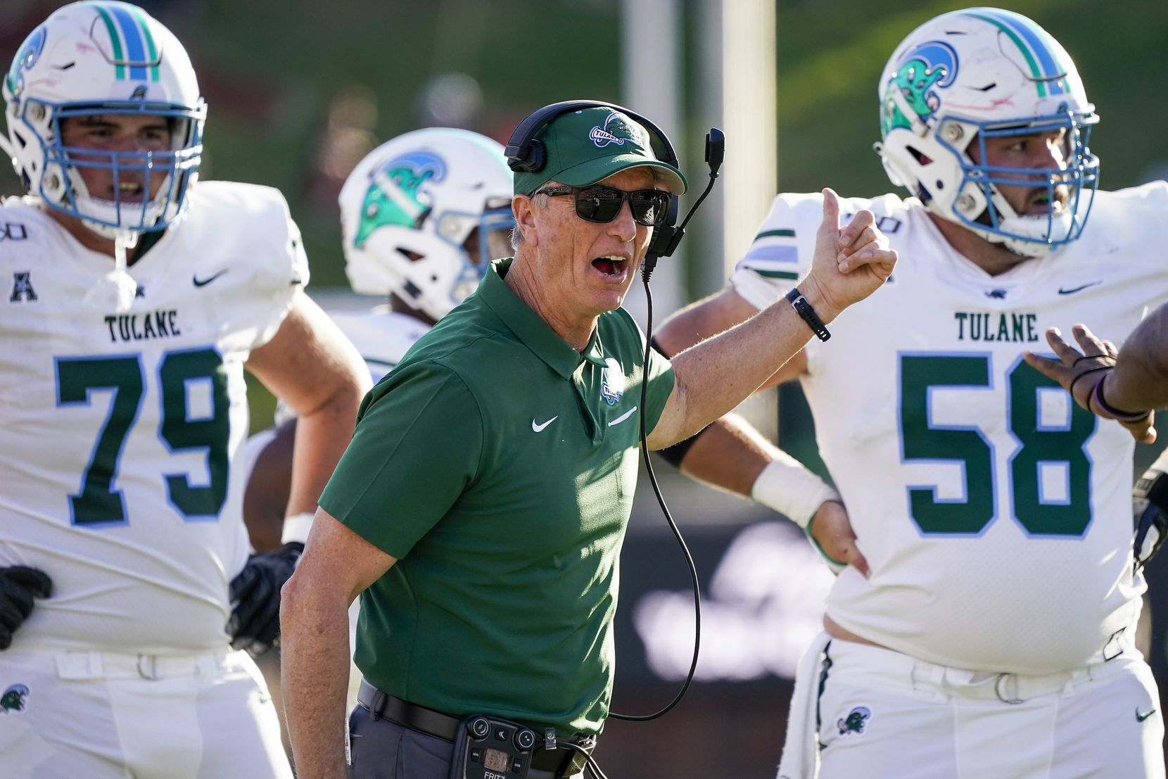 Tulane head coach Willie Fritz yells toward an official during the first half of an NCAA football game against SMU at Ford Stadium on Saturday, Nov. 30, 2019, in Dallas.