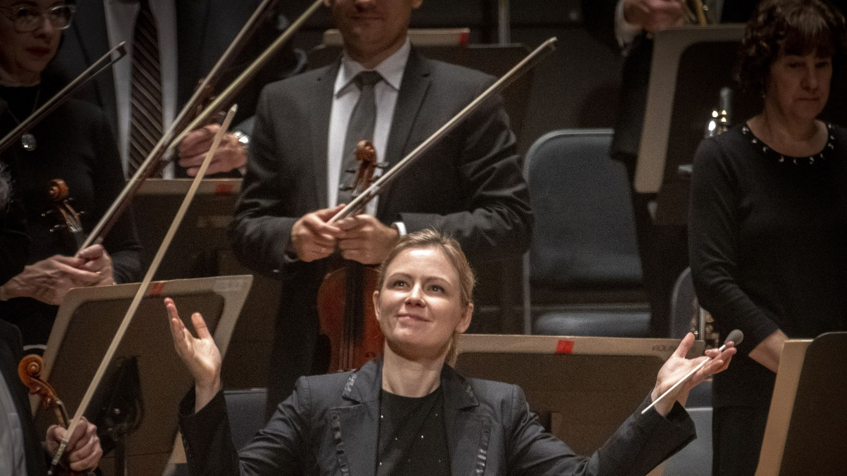 Gemma New, the Dallas Symphony Orchestra's new principal guest conductor greets the audience at the Meyerson Symphony Center on November 8, 2019 in Dallas, Texas.