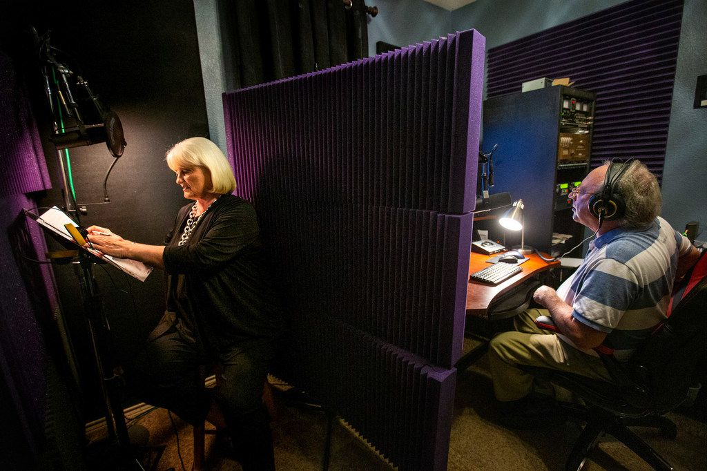 Connie Yates tapes her final in-store messages for Tom Thumb, Albertsons and Randalls with her radio producer, Dean Bailey, on Sep. 3, 2019, at Bailey's in-home recording studio in Forney.