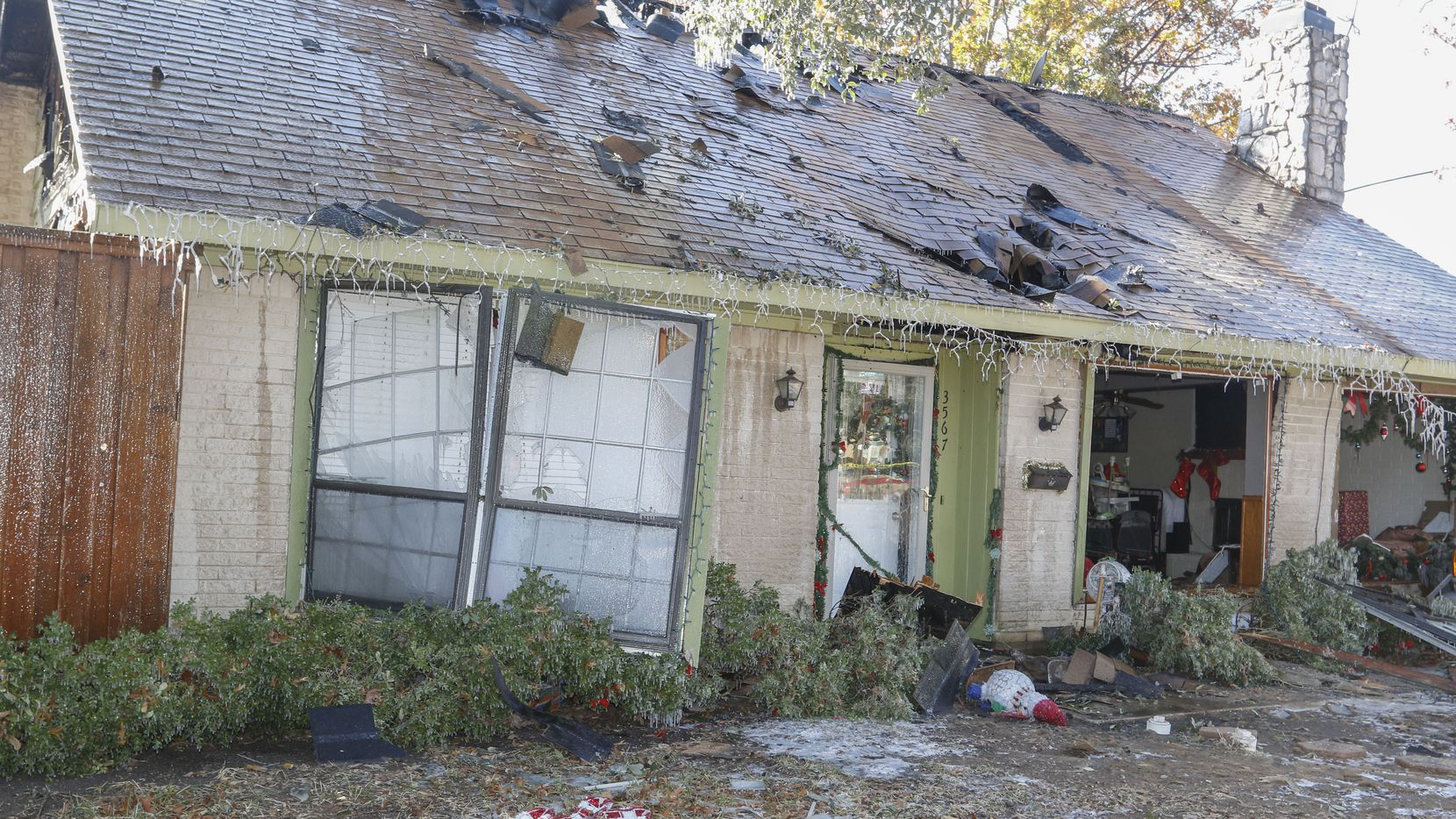 The aftermath of a natural gas explosion at a house located at the southeast corner of Colgate Lane and N. O'Connor Road in Irving, Texas Monday, January 1, 2018. No serious injuries where reported. (Ron Baselice/ The Dallas Morning News)
