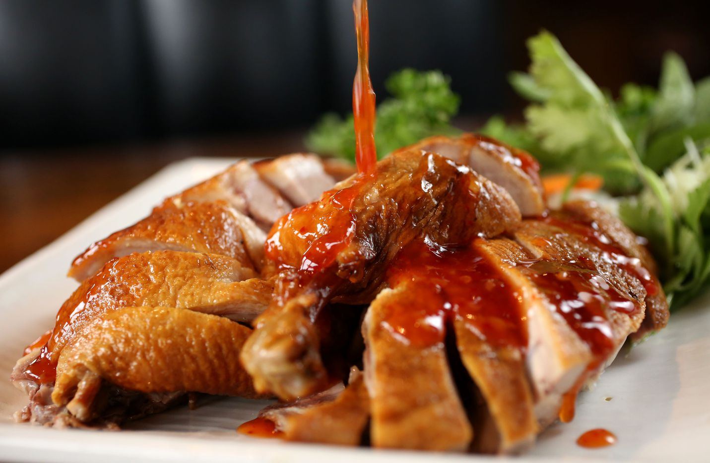 """Taiwanese smoked duck at Yama Izakaya and Sushi Legacy, a Japanese restaurant that features an entire Taiwanese menu prepared by a Taiwanese chef, Hsiu Fu """"Allen"""" Hsu.  (Rose Baca/Staff Photographer)"""