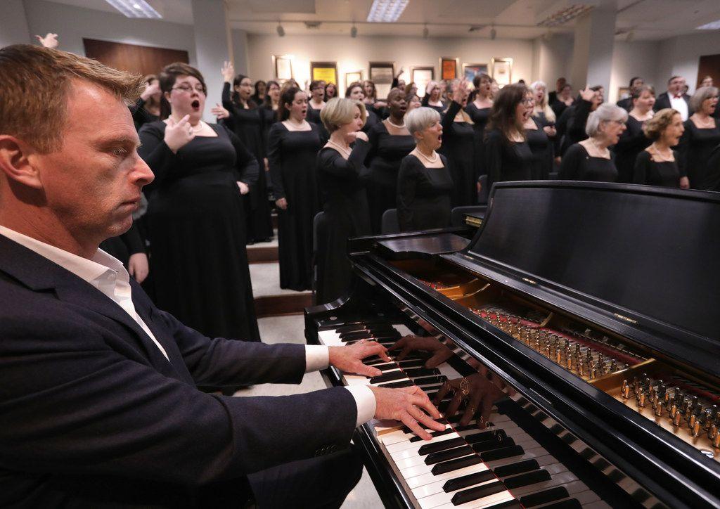 The Dallas Symphony Chorus warms up  on Dec. 10, 2017.