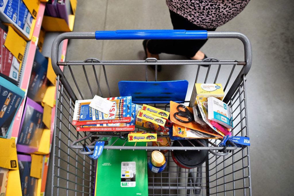 Tax free shopping in Texas is Aug. 9-11 and includes school supplies such as these in the basket of Reyna Jimenez, 30, of Farmers Branch, who shopped for school supplies a Walmart Supercenter off of Lyndon B. Johnson Freeway in north Dallas in July. The supplies were donated part of a raffle at her job.