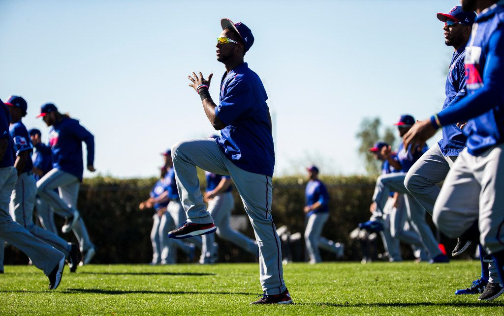Texas Rangers players during a spring training workout at the team's training facility on Tuesday, February 21, 2017 in Surprise, Arizona. (Ashley Landis/The Dallas Morning News)