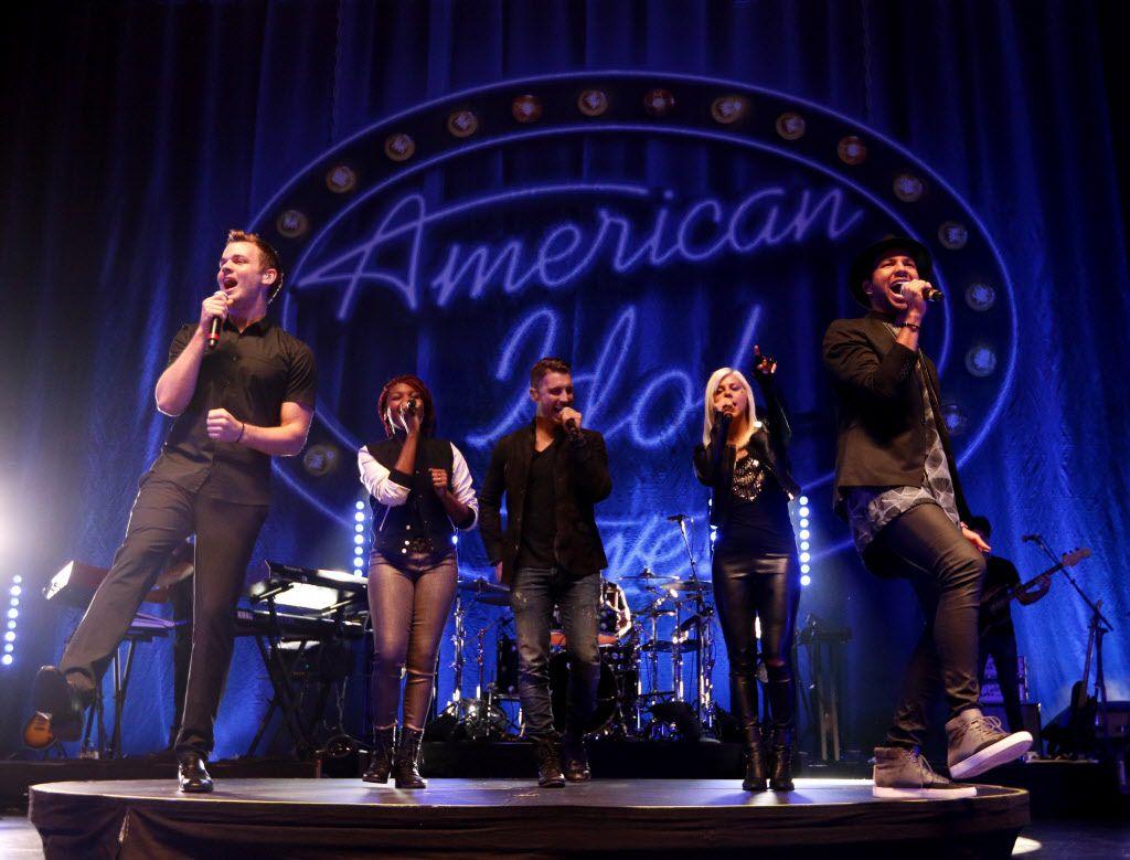 American Idol contestants (from left) Clark Beckham, Tyanna Jones, winner Nick Fradiani, Jax and Rayvon Owen perform during American Idol Live at the Verizon Theatre in Grand Prairie, Texas on Aug. 12, 2015.