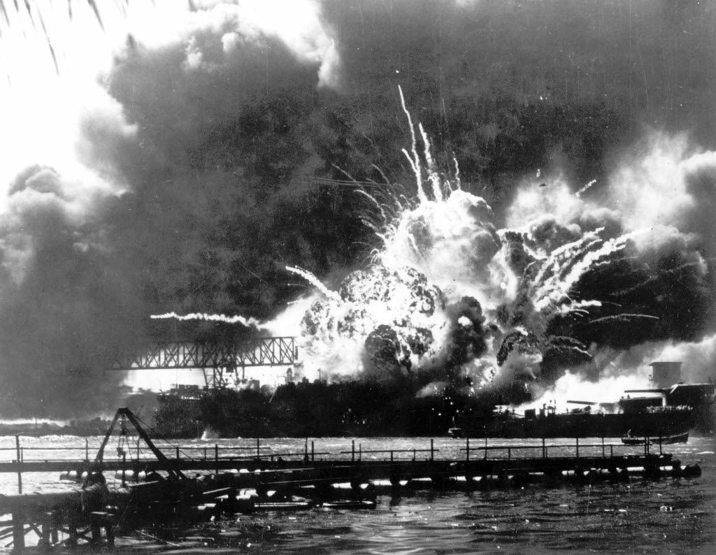 The destroyer USS Shaw exploded after being hit by bombs during the Japanese attack on Pearl Harbor. (1941 File Photo/The Associated Press)
