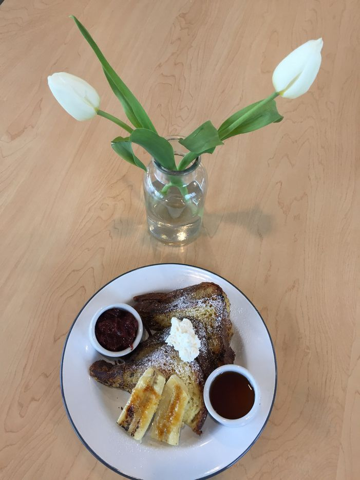 The Brioche French Toast at The Market at Bonton Farms includes house made jam & Whip Cream and Bruleed Bananas in Dallas. (Irwin Thompson/The Dallas Morning News)