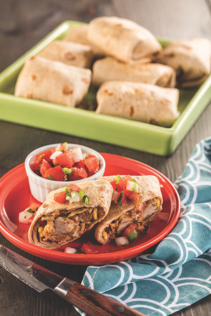 Carnitas Baked Chimichangas from Latin Comfort Foods Made Healthy.