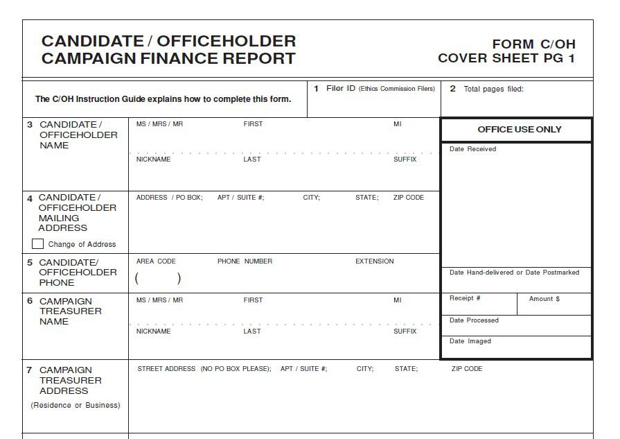 A standard campaign finance report from the Texas Ethics Commission. Officeholders and candidates for public office in Dallas are required by city code to file their reports with the city secretary's office.