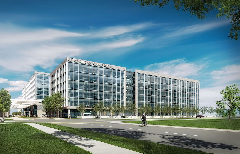 JPMorgan Chase & Co.'s new Legacy West campus in Plano will eventually house almost 6,000 workers. (HKS)