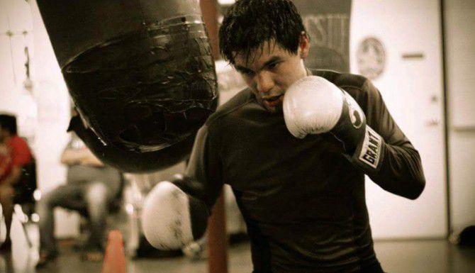 George Rincón entrena en el gimnasio de la policía de Irving. Espera regresar a pelear en septiembre(CORTESÍA YAHAIRA SÁNCHEZ)