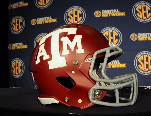 July 17, 2012; Hoover, AL, USA;  Texas A&M Aggies helmet sits in front of an SEC backdrop during the 2012 SEC media days event at the Wynfrey Hotel.   Mandatory Credit: Kelly Lambert-US PRESSWIRE 07212012xSPORTS