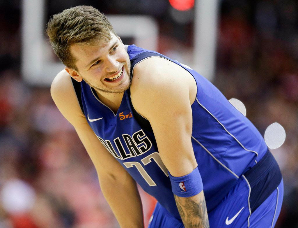 Dallas Mavericks forward Luka Doncic reacts after being called for a foul late in the second half of an NBA basketball game against the Houston Rockets, Monday, Feb. 11, 2019, in Houston. Houston won 120-104. (AP Photo/Eric Christian Smith)
