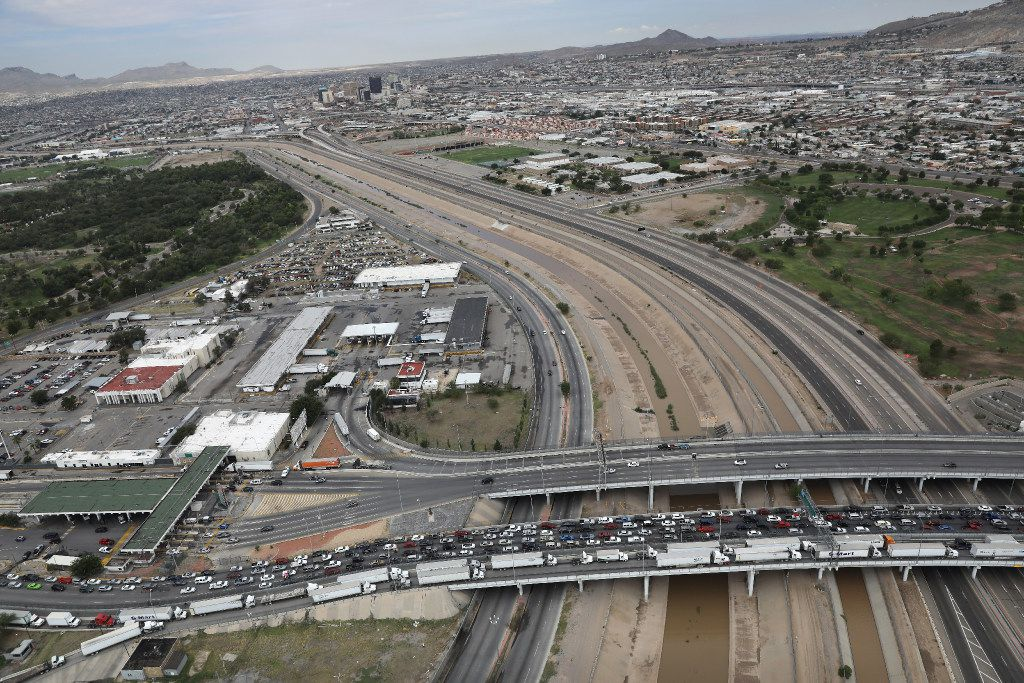 EL PASO, TX - AUGUST 01:  An international bridge crosses the Rio Grande which forms the U.S.-Mexico border as seen from a U.S. Customs and Border Protection helicopter on August 1, 2017 near El Paso, Texas. Logistical challenges are just some of the complications facing the construction of a border wall proposed by President Trump.