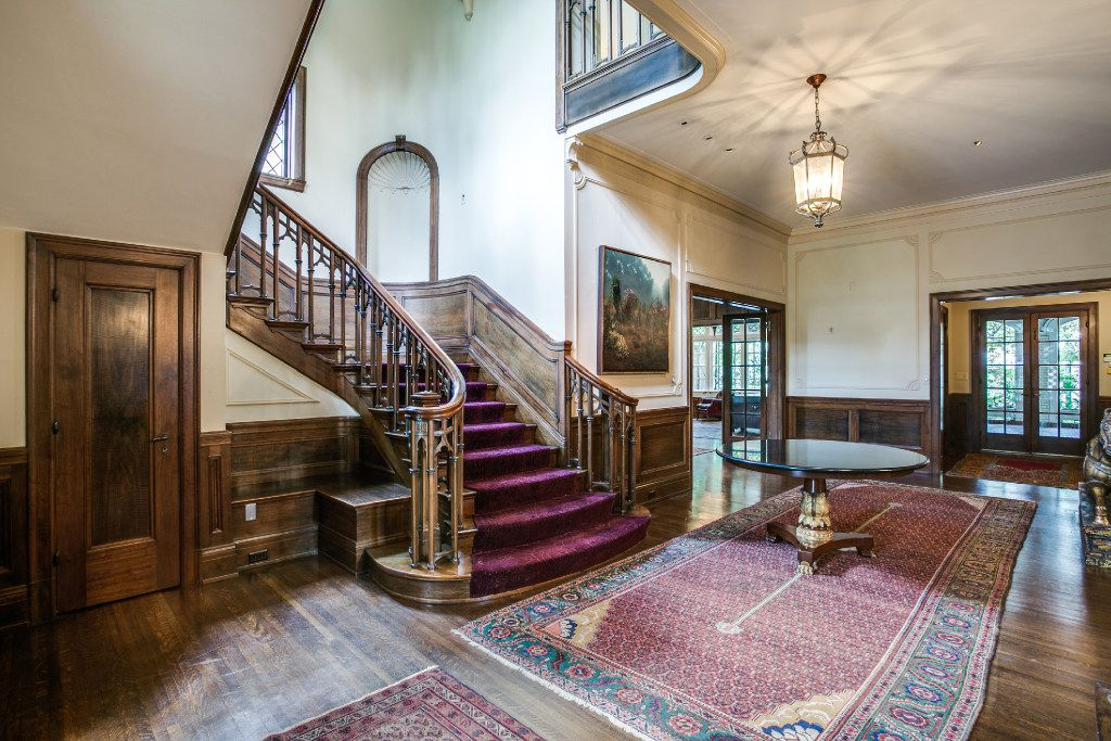 The main staircase at the Highland Park home of Sam Wyly at 3905 Beverly Drive. The house was listed for $12.5 million.