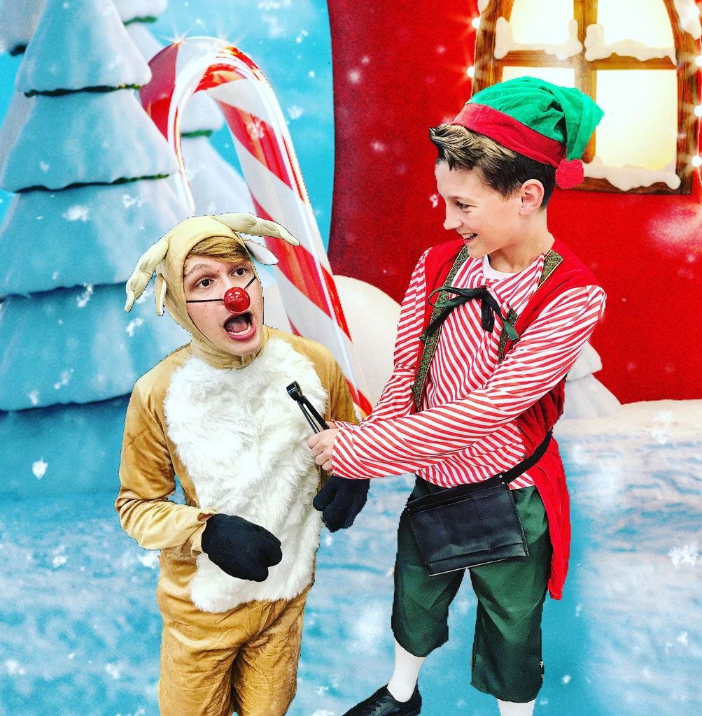 Luke Matthews plays Hermey the Elf, Trevor Turnbow plays Rudolph and Danny Bass plays Bumble in Rudolph the Red-Nosed Reindeer Jr., presented by Ohlook Performing Arts Center in Grapevine Dec. 7-22.