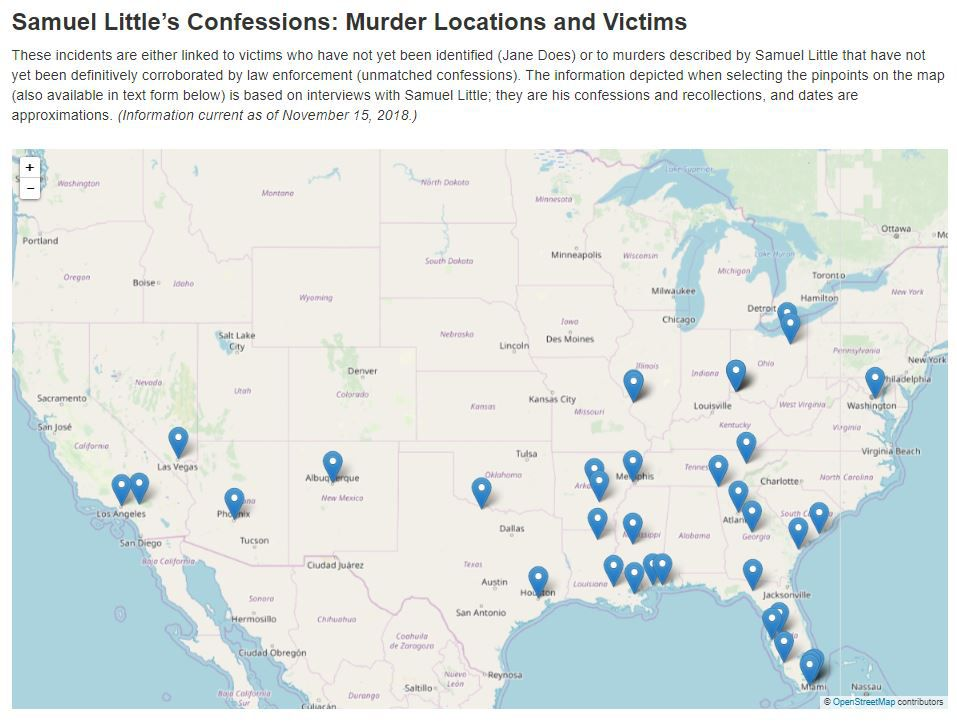 The FBI has compiled a map of Samuel Little's confessions across the U.S. The pinpoints are of victims who have not been identified or to murders he described that have not been definitively corroborated yet. The full interactive map is available on the FBI website.