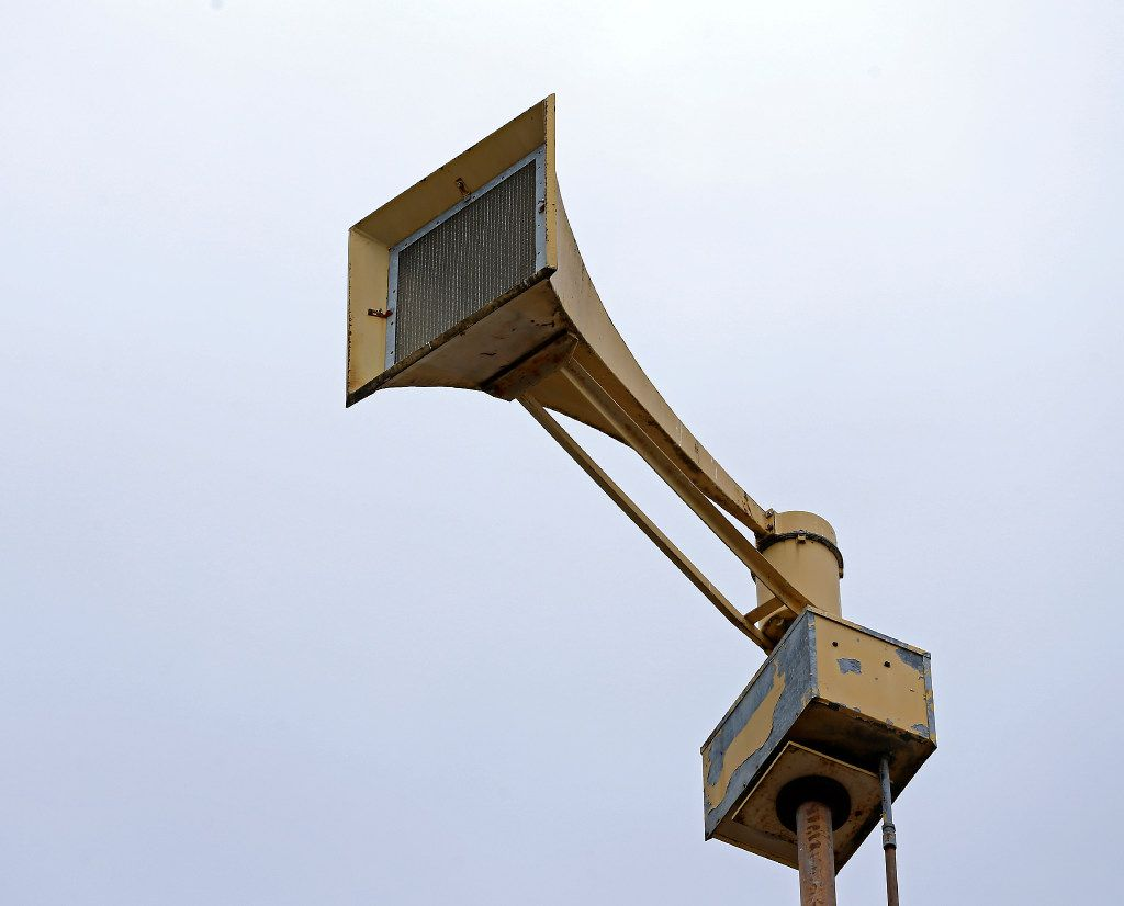 A severe weather warning siren is located at the fire station 11 in the Oak Lawn community in Dallas, Monday, April 10, 2017.(Jae S. Lee/The Dallas Morning News)
