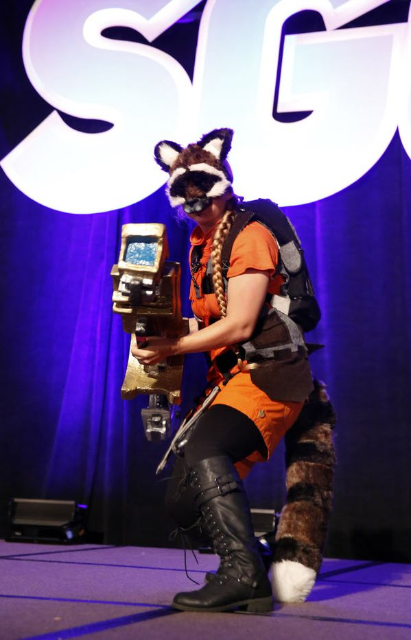 Danielle Thomas of Mishawaka, Ind., dressed as comic book character Rocket Raccoon.