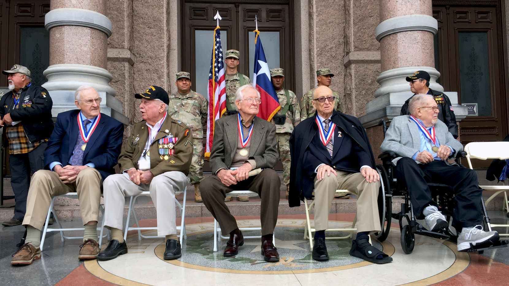 Six Texas veterans were honored Thursday at the Texas Capitol for their role in liberating Nazi concentration camps. From left: Bill Kongable, Birney Havey, Gerald Powell, Chet Rohn and Herb Stern.