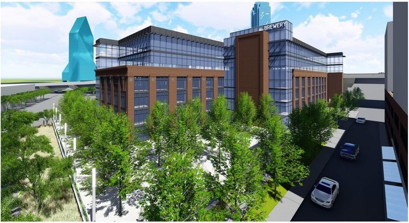 The 15-story apartment high-rise would be constructed next door to the more than century-old Brewery building will will be redeveloped.