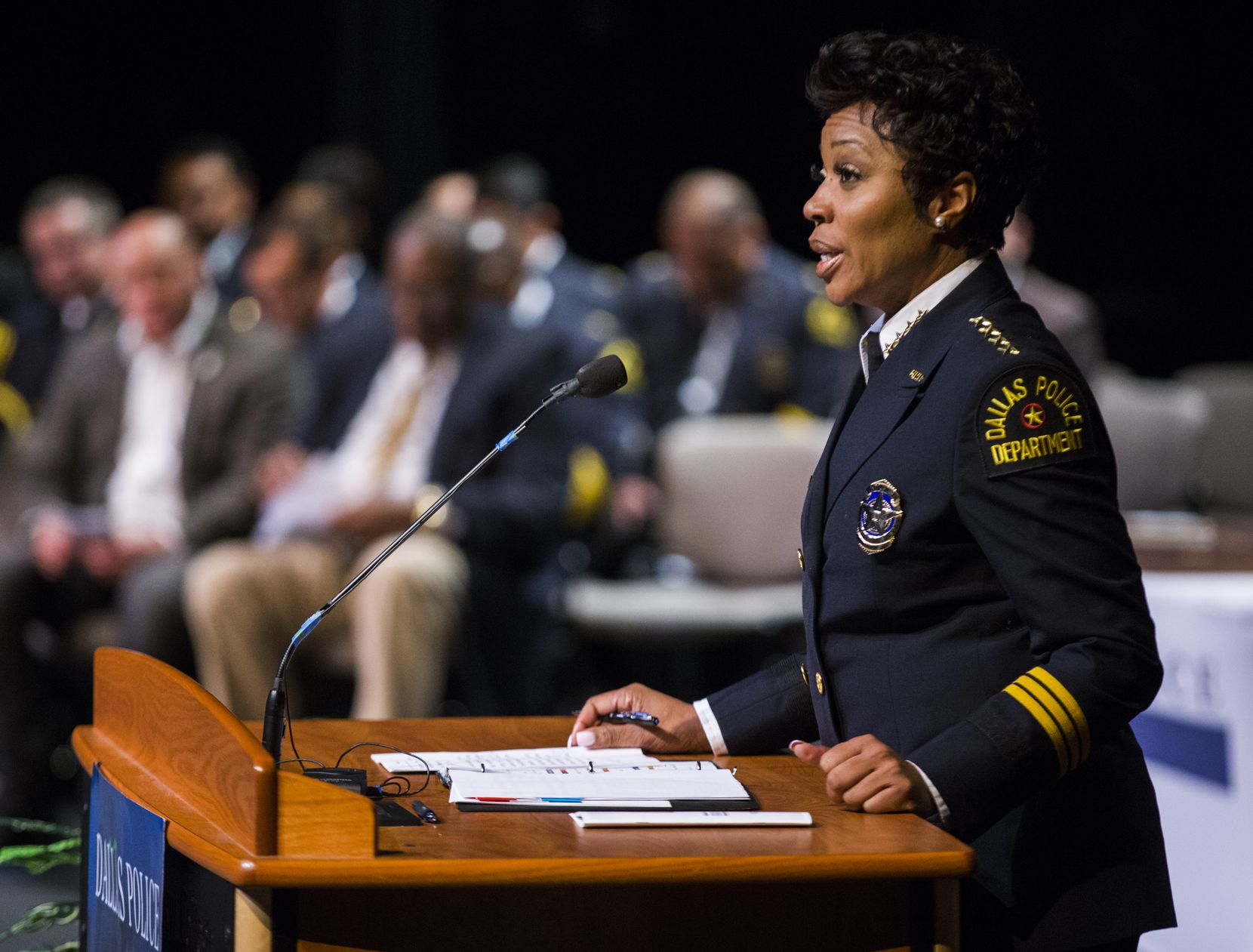 Police Chief Renee Hall spoke Friday to Dallas Police Department academy graduates at Mountain View Community College.