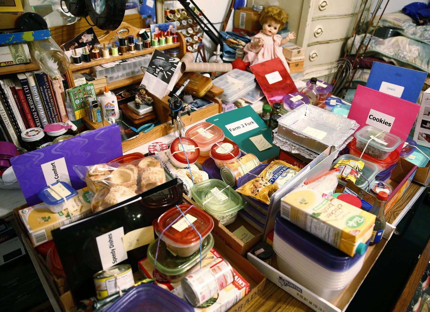 The organizing system for some of Peggy Garmon's preparations for the State Fair of Texas contest entries, at her home in Rowlett on Oct. 6.