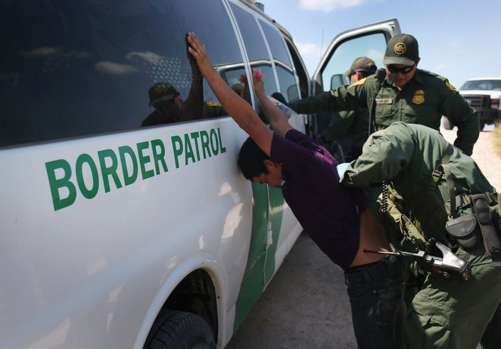 U.S. Border Patrol agents detain undocumented immigrants after they crossed the border from Mexico into the United States in McAllen. The Rio Grande Valley corridor is the busiest illegal border crossing into the United States. Border security and immigration have become major issues in the U.S. presidential campaigns.
