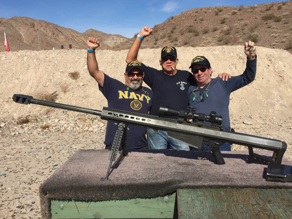 """From left: John Diciaula, Mark Lampe and Eddie Aguilar gathered Veterans Day weekend 2016 for an informal reunion in Las Vegas. During a visit to an area gun club, Aguilar recalled, """"I didn't know what kind of big ol' sniper gun that was, but they let us shoot it."""""""